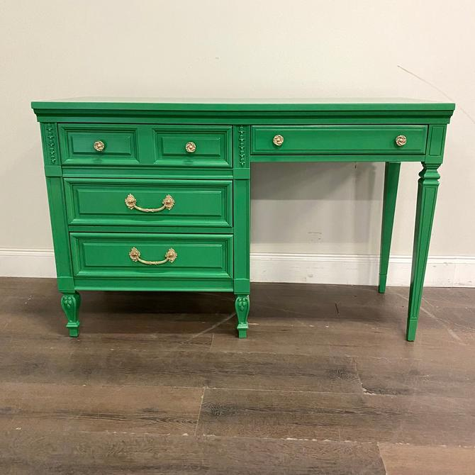 AVAILABLE: Green Lacquer Desk / Vanity - Dixie by VintageRefinedDecor