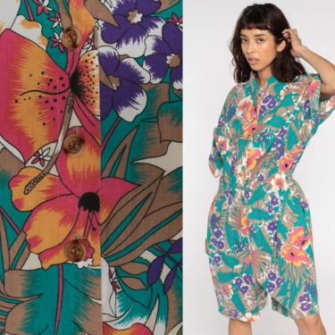 Tropical Floral Romper Playsuit 80s One Piece Jumpsuit Shorts Summer Jungle Button up Short Sleeve Boho 1990s Vintage Vacation Large L by ShopExile