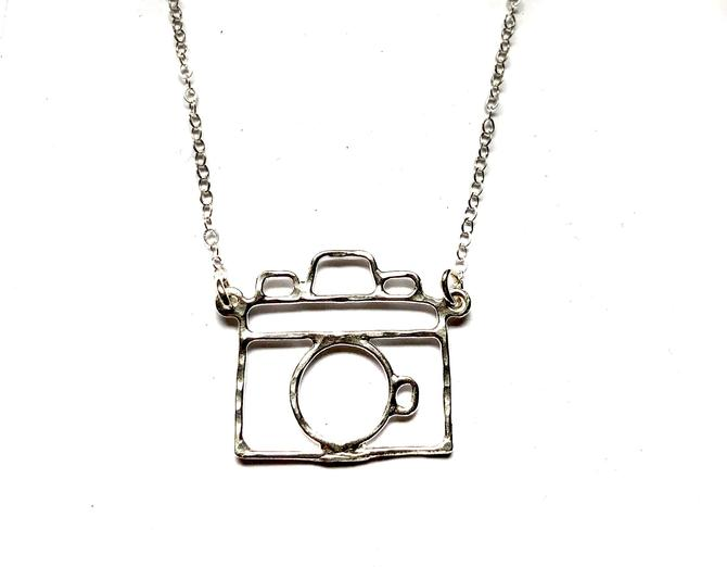 Small camera pendant handmade old fashioned holga camera outline necklace by RachelPfefferDesigns