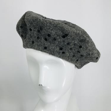 Galanos Kangol Grey Sequin Wool Beret 1960s