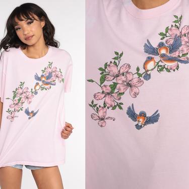 Floral Bird Shirt 90s TShirt Vintage Baby PinkShirt Retro T Shirt Graphic Tee Wilderness Screen Print 1990s t shirt Large L by ShopExile