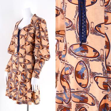70s novelty face print cotton mini dress size L / vintage 1970s lace up bishop sleeve dress 8-10 by ritualvintage