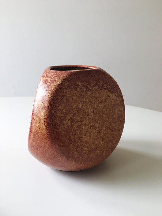 Post Modern Sculptural Three Sided Vase Pottery Matte Glaze Italian design Bertoncello by CaribeCasualShop