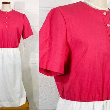 Vintage Pink Colorblock Dress White Button Front Short Sleeve Mod Heury-Lee 1970s 70s 1980s 80s A-Line XL XXL Large by CheckEngineVintage