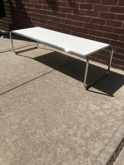 White Formica and Chrome Mid Century Coffee Table in the style of Marcel Breuer by bcdrygoods