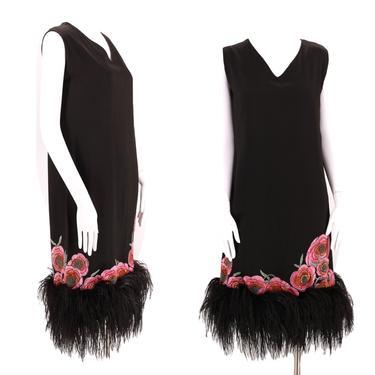20s black maribou Flapper dress / vintage Art Deco silk 1920s Piano shawl feather hem Gatsby era party dress M by ritualvintage