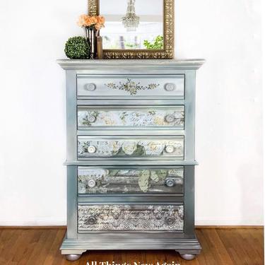 Gray Dresser | Gray Chest of Drawers | Gray Bedroom Furniture | Romantic Dresser with Flowers | White Fleur Transfer on Dresser by AllThingsNewAgainVA