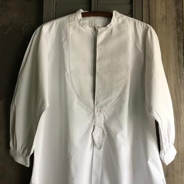 1 1896 French Mens White Dress Shirt, Dated 1896 Paris Label, Bed Shirt, Night Shirt, Dress, Period Clothing by JansVintageStuff