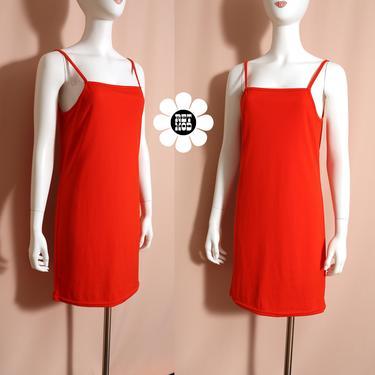 Basic Vintage 70s or 90s Dark Red-Orange Tank Dress by RETMOD
