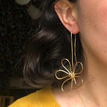 Flower Doodle Earrings Handmade in 14k Gold Filled Wire Sculptural Statement Artisanal One of a kind earrings by RachelPfefferDesigns