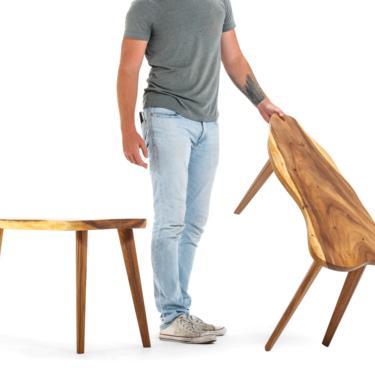 Set of Two ( 2 ) Mid Century Modern Monkey Pod Wood Slab Coffee / End Tables by ABTModern