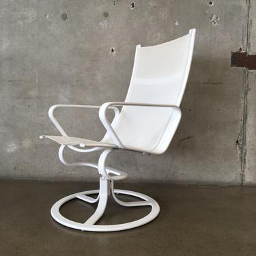 Vintage 1980s White Swivel Lounge Chair by Brown Jordan