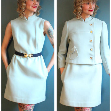 1960s Dress Set // Peck & Peck Wool Dress with Jacket // vintage 60s dress set by dethrosevintage