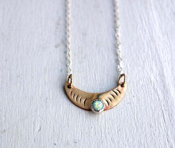 Hammered Opal and Brass Crescent Moon Pendant by RachelPfefferDesigns