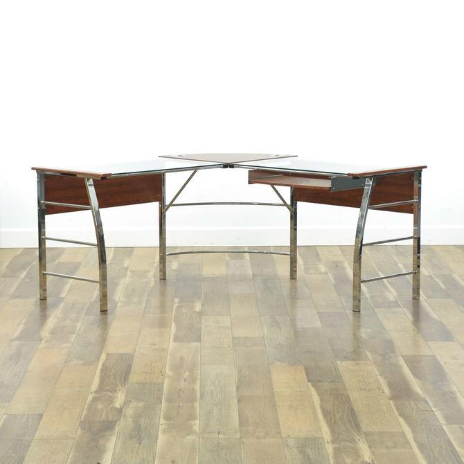 Modernist Corner Desk W Glass Top