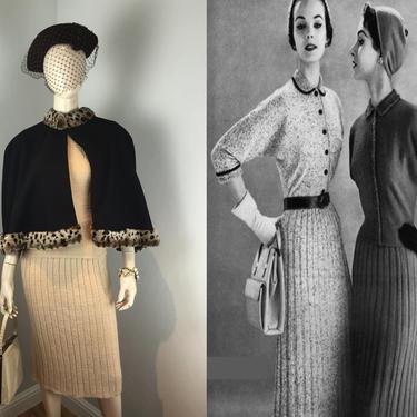 A Scottish Fling - Vintage 1950s Lass o Scotland Oatmeal Wool Knit Sweater Skirt Set - S by RoadsLessTravelled2