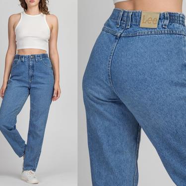 "Vintage High Waisted Lee Jeans - Medium, 28""-30""   90s Grunge Denim Elastic Waist Tapered Mom Jeans by FlyingAppleVintage"