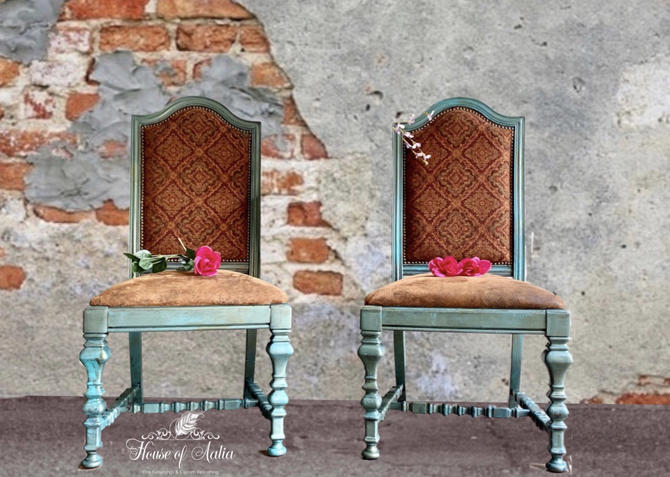 Boho Vintage Turquoise Teal Chairs.  Carved Velvet Upholstery Chairs.  Dining CAnthropologie Inspired Chairs. Green Blue Brown Office Chair. by HouseofAalia