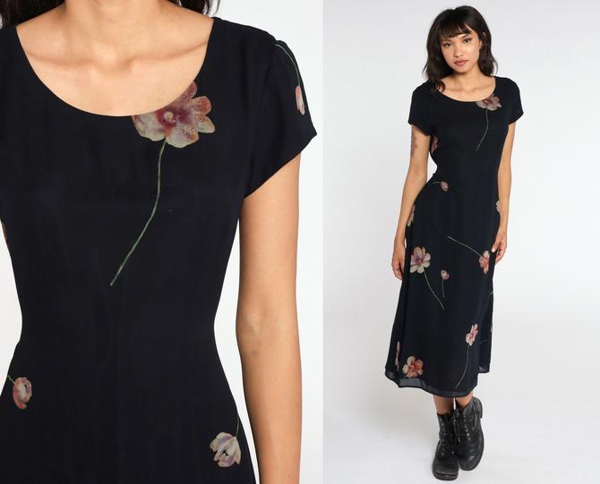 90s Floral Dress Black Silk Dress Bohemian Grunge Dress Boho Midi Nostalgia 1990s Vintage Sheath Short Sleeve Draped Medium by ShopExile