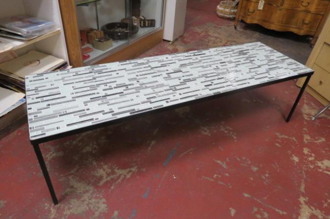 Vintage MCM Italian glass tile top coffee table