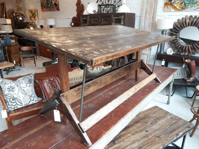 Vintage industrial oak drawing table by the Mayline Co by StateStreetSalvage