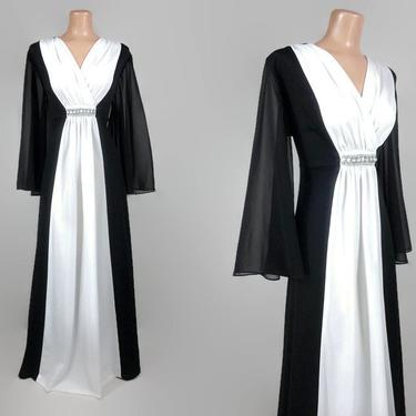 VINTAGE 70s Sheer Sleeve Black White Goddess Maxi Dress | 1970s Color Block Hostess Dress | Angel Sleeve Disco Wizard Dress Plus size by IntrigueYouForever
