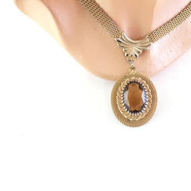 1950s Smokey Quartz Pendant Necklace - 1950s Gold Mesh Chain Necklace - 1950s Smokey Quartz Necklace - 50s Pendant Necklace - Smokey Quartz by VeraciousVintageCo