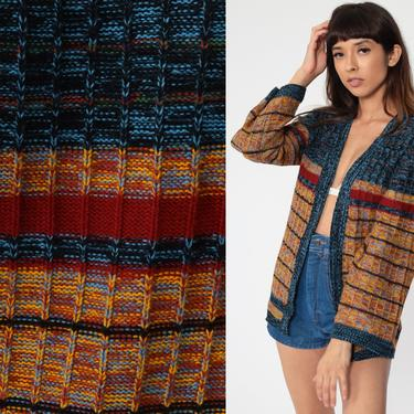 Wrap Sweater SPACE DYE Sweater Boho Cardigan 70s Bohemian Striped 80s Vintage Knit Wide Bell Sleeve 1970s Hippie Blue Yellow Small Medium by ShopExile