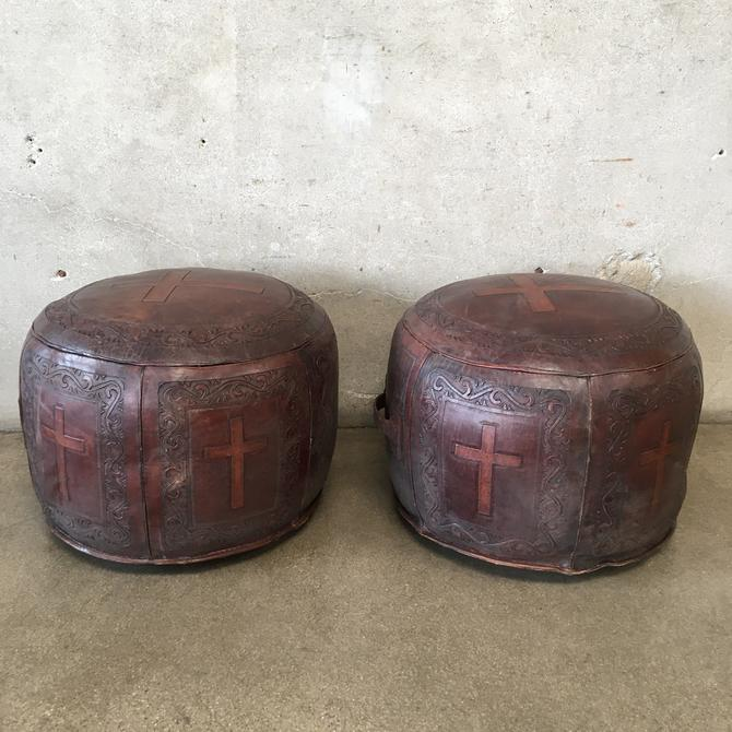 Pair of Vintage Hand Tooled Leather Ottomans