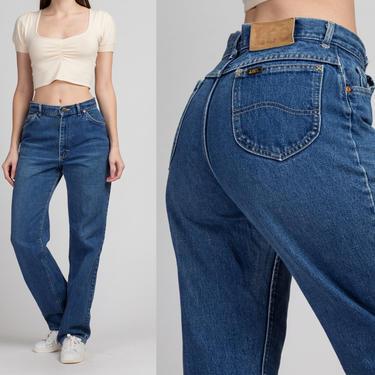 "Vintage High Waist Lee Rider Jeans - Medium, 29"" | 80s 90s Denim Pants Dark Wash Mom Jeans by FlyingAppleVintage"