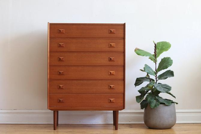 Mid Century Danish Modern Wooden Bowtie Handle Highboy Dresser by SharkGravy