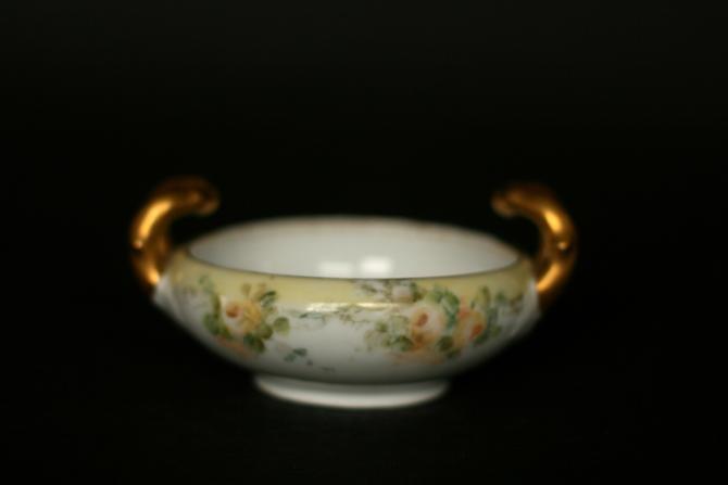 vintage hand painted porcelain trinket dish/bon bon dish/ gold handles by suesuegonzalas