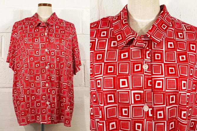 Vintage Red Geometric Shirt Blair White Geo Print Short Sleeve Blouse Top Mod 00s 90s 1990s Y2K 2000s Plus Curvy Volup 3XL XXL by CheckEngineVintage