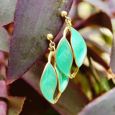 "Vintage DA S925 Sterling Norway Gilt Guilloche Enamel Leaf Screw Back Earrings, Vibrant Green Enamel, Double Leaf Design, 1 3/8"" L by shopGoodsVintage"