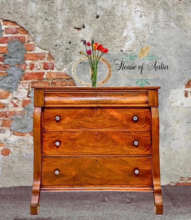 Vintage Flame Mahogany Empire Dresser. Five Drawer Lowboy. Master Bedroom. Eclectic Living Room Anthropologie Inspired. by HouseofAalia