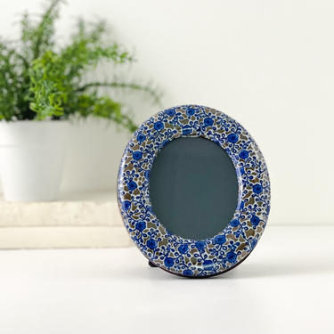 Vintage Takahashi Oval Ceramic Picture Frame, 3 x 5 Blue and Gold Tabletop Photo Frame by PebbleCreekGoods