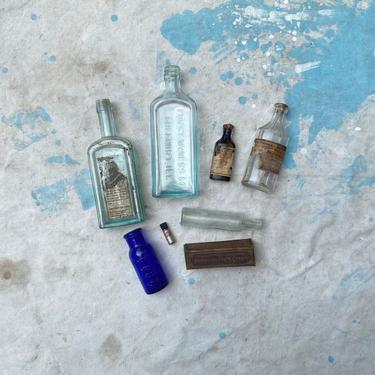 Antique Medicinal Bottle Lot Paper Label Apothecary Decor by NorthGroveAntiques