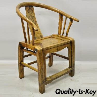 Chinese Carved Hardwood Horseshoe Ming Style Barrel Back Lounge Arm Chair