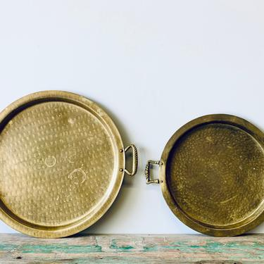 Vintage Brass Tray with Handles   Hammered Brass Tray   Brass Serving Tray   Coffee Table Tray   Bar Tray   Round Brass Tray by PiccadillyPrairie
