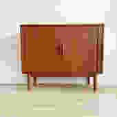 Mid Century Teak Tambour Door Arne Vodder Cabinet, Made in Denmark