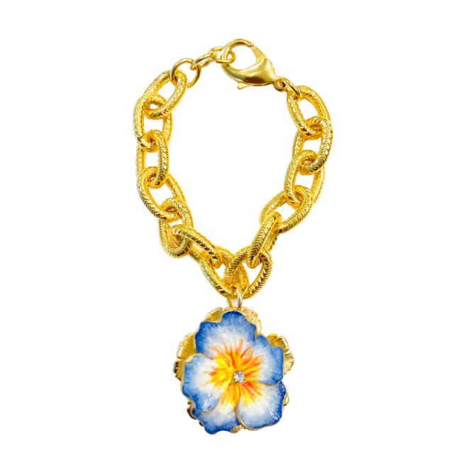 The Pink Reef Cornflower blue and yellow pansy bracelet