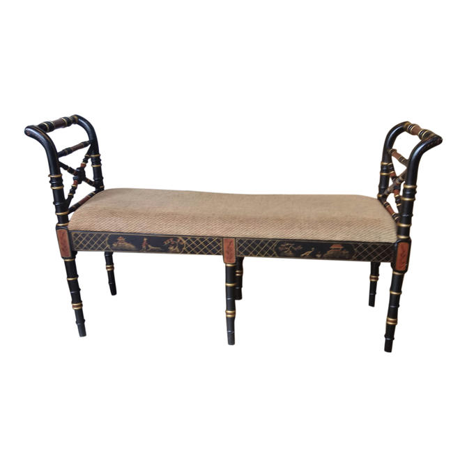 VINTAGE Bench, Bedroom Decor, Asian, Chinioserie, Hollywood Regency Bedside Decor by 3GirlsAntiques