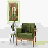 Mid Century Olive Green Velvet Armchair