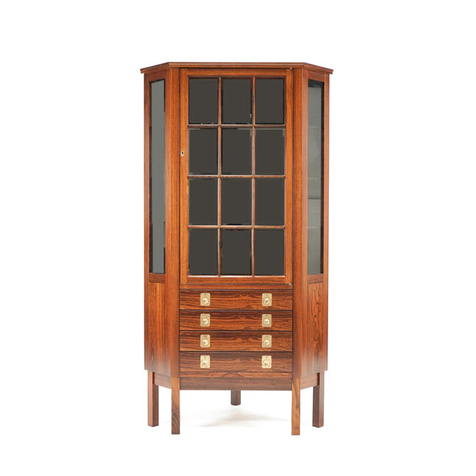 Bruksbo for Mellemstrand Rosewood Corner Cabinet by fairmarketvintage