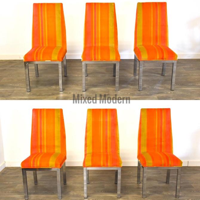 Orange and Chrome Modern Dining Chairs- Set of 6 by mixedmodern1