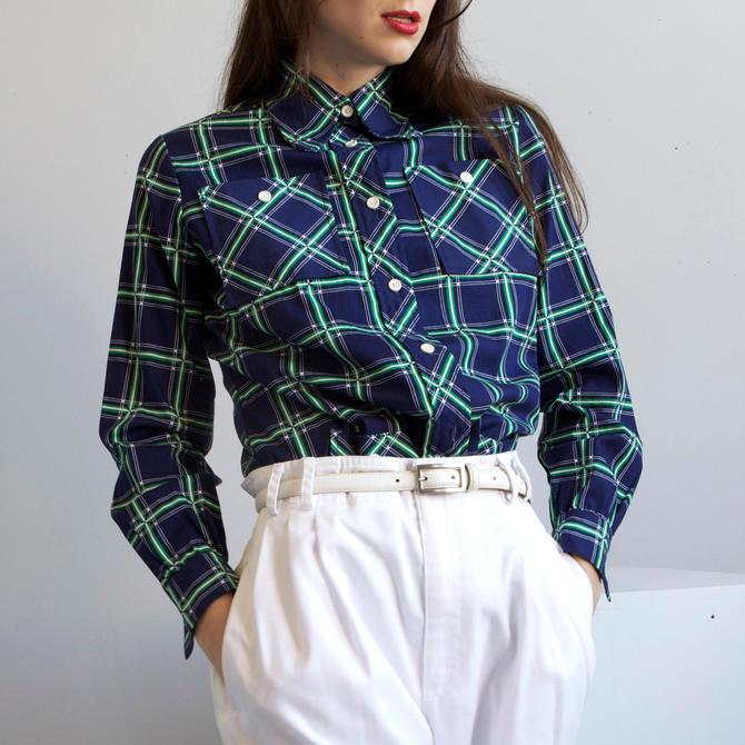 70s blue /green windowpane plaid cotton shirt jacket / size S M by EELT