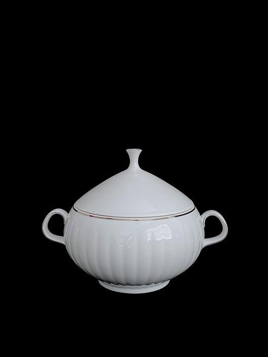 Vintage ARZBERG Germany Formentwurf White Porcelain Modernist Covered Tureen Vegetable Bowl w/ Silver Band Ribbed Design German 1960s Modern by SwankyChaperooo