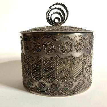 Vintage Decorative Etched Silver Vessel with Lid, made in Italy by MadCoolNYC