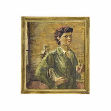 Circa 1950's Painting Portrait of Female Sculptor by Sonia Katz Chicago Artist by PrairielandArt