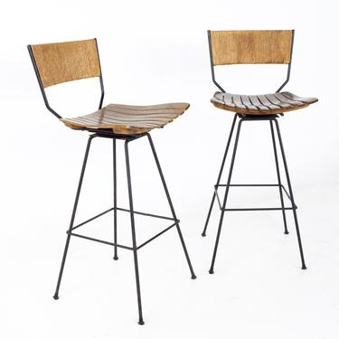 Arthur Umanoff Mid Century Roped Wood and Iron Bar Stools - A Pair - mcm by ModernHill